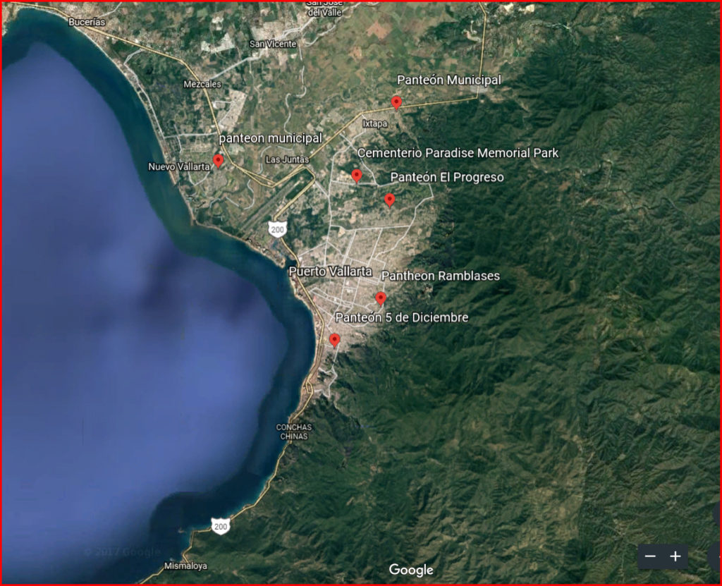 Map of Cemeteries in and Around Puerto Vallarta, Mexico